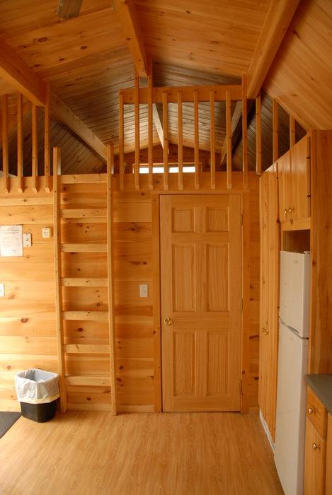 cabin, door, kitchen, ladder, second floor loft