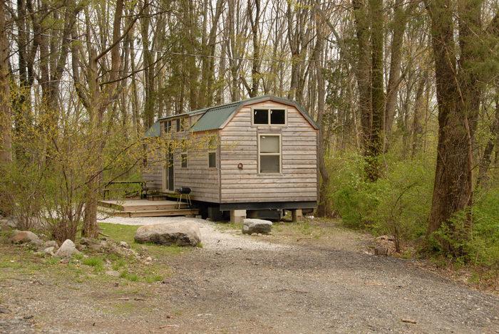 cabin, deck, woods