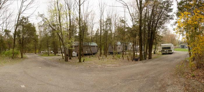 cabin, camper, panoramic, street, trees