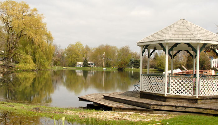 deck, gazebo, lake, water