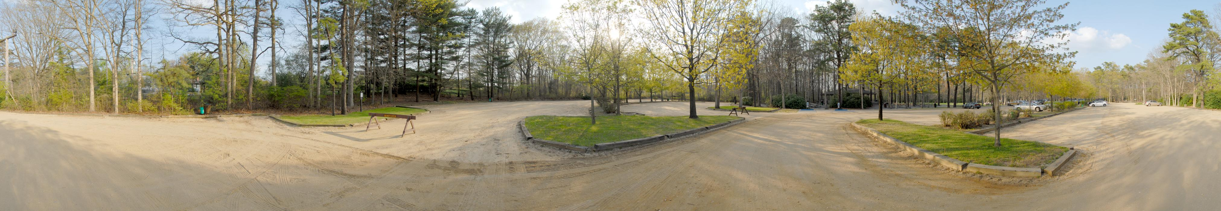 panoramic, parking, trees