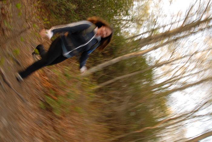 Jacki, blurry, trees, woods