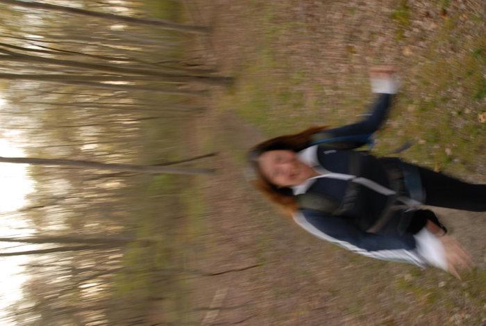 Jacki, blurry, running, trees, woods