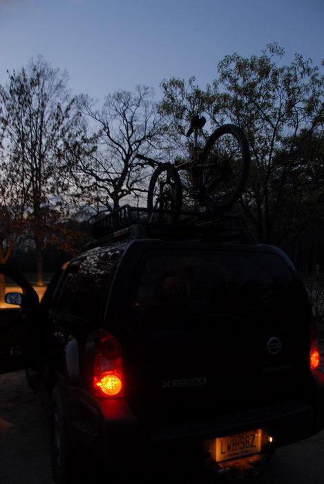 XTerra, sunset, trees