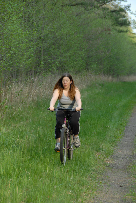 Jackie, bike, mountain bike, path, trail, trees, woods
