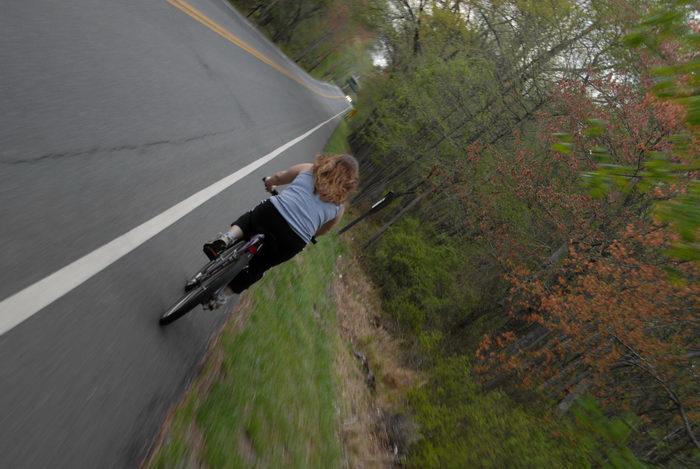 Jackie, bike, mountain bike, paved, road, trees
