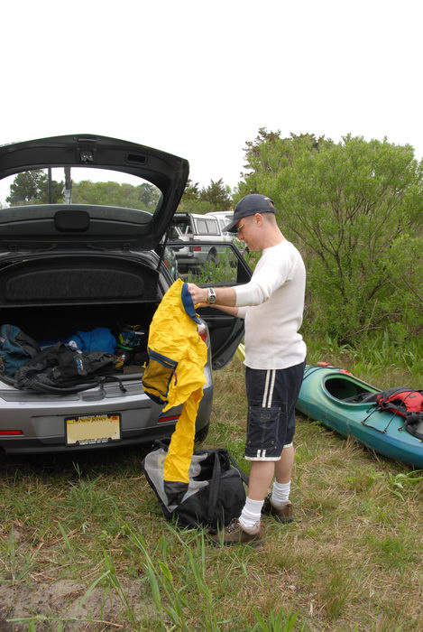 Rob, gear, grass, kayak, mazda, tree