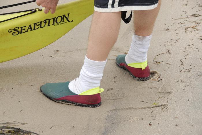 Rob, beach, kayak, sand, socks, water shoes
