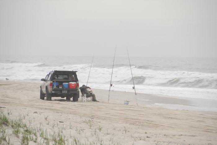 beach, fishing, fishing pole, ocean, sand, truck, waves