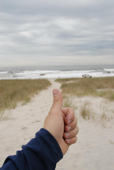 Thumbs across America, beach, ocean, path, sand, waves