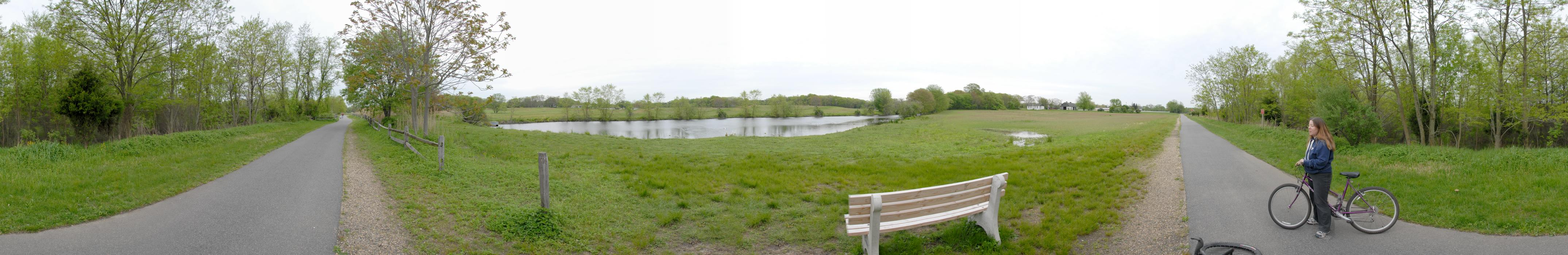 Jackie, bench, grass, panoramic, path, paved, pond, trees, water