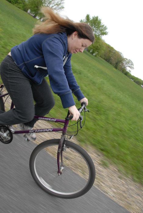 Jackie, bike, grass, path, paved