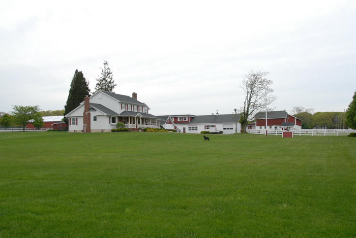 farm, grass, house, trees