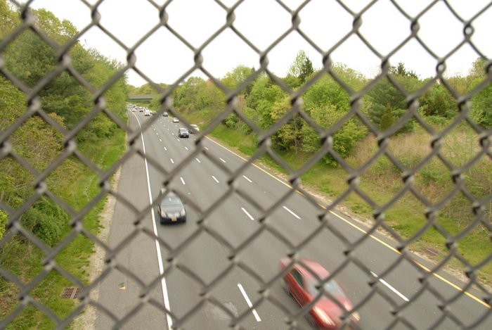 fence, garden state parkway, grass, highway, trees