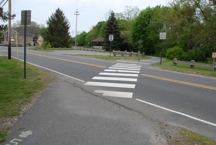 crossing, grass, parking lot, path, paved, road, trees