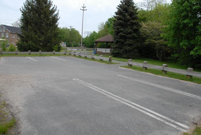 fence, gazebo, parking lot, trees