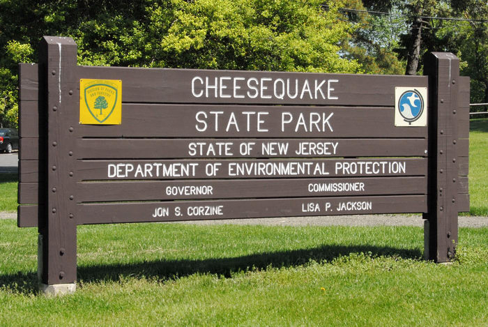 Cheesequake, park entrance, sign
