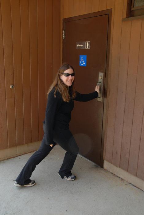 Jackie, bathroom, door