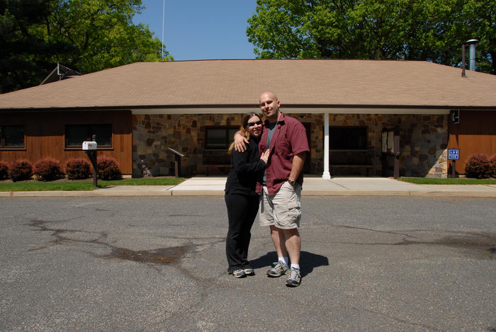 Jackie, Jeff, blue sky, office, parking, visitor center