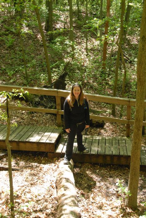 Jackie, boardwalk, stairs, trees, woods