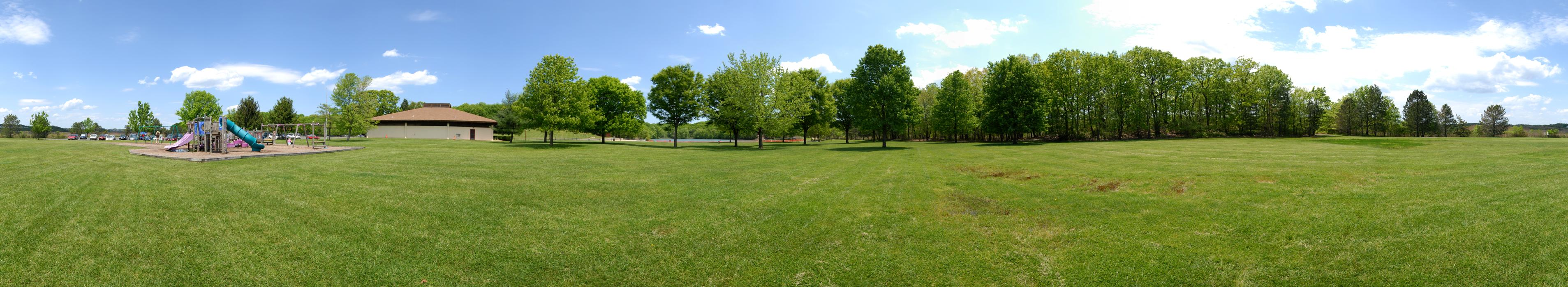 blue sky, grass, panoramic, trees