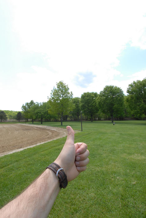 Thumbs across America, beach, grass, sand, trees