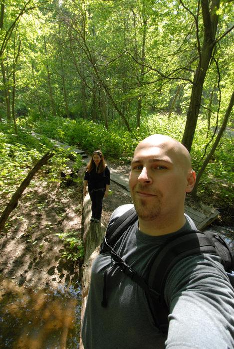 Jackie, Jeff, trees, woods