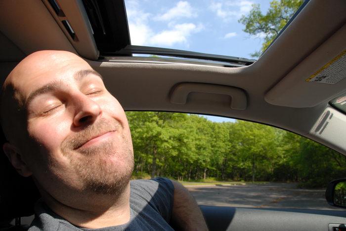 Jeff, blue sky, parking, sleeping