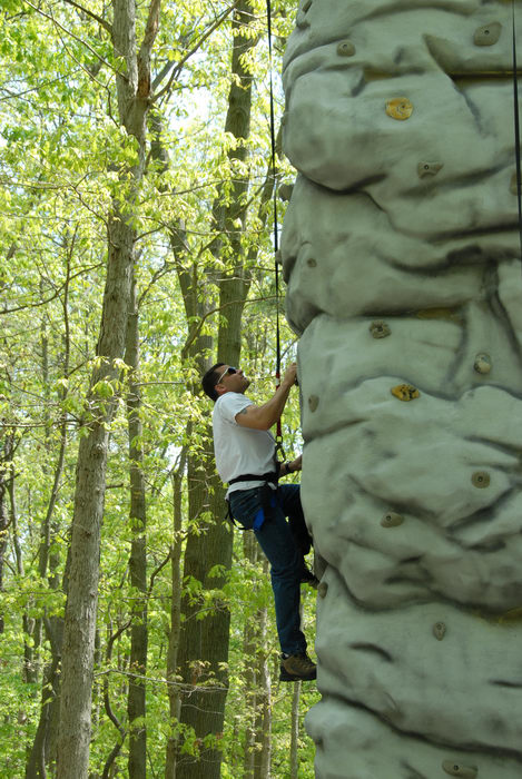 climber, rock wall, trees, woods