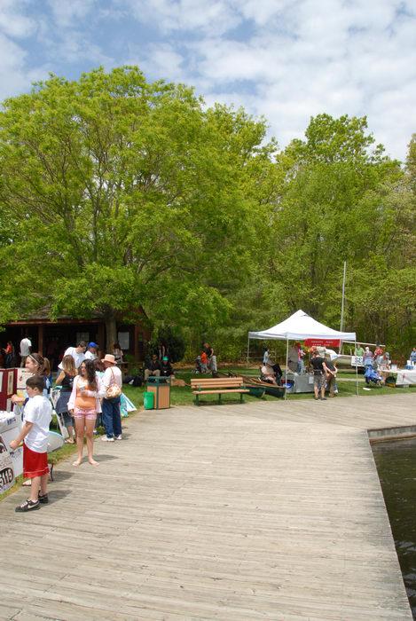 boardwalk, people, trees, water, woods