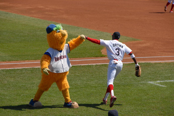 #9 Brown, Blueclaws Mascot, Buster, baseball player, grass