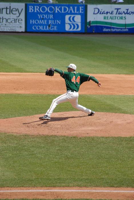 #44, baseball player, grass, pitcher, sign