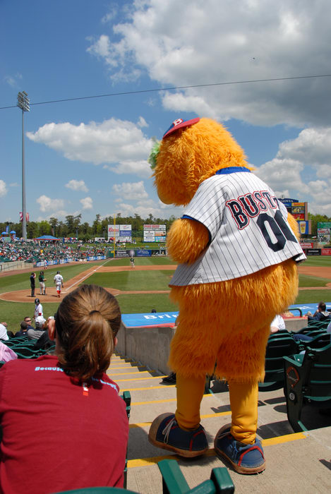 Blueclaws Mascot, Buster, baseball diamond, blue sky, clouds, grass, stadium, stairs