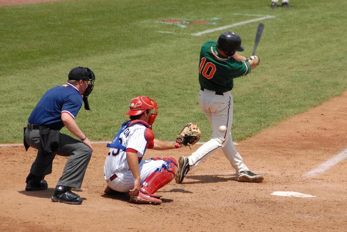 ball, batter, catcher, grass, home plate, movement, strike, umpire