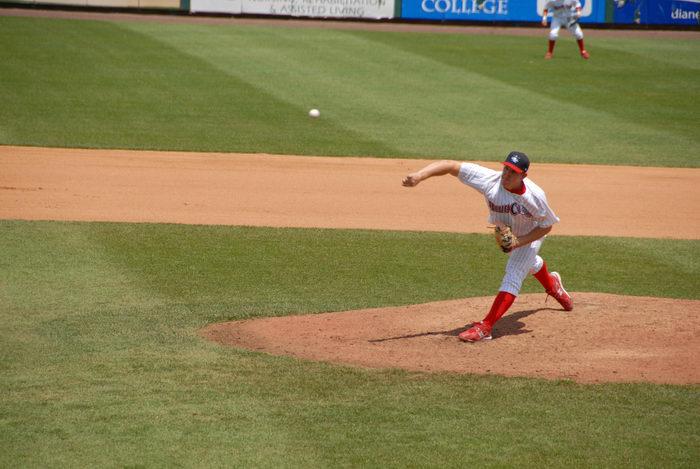 ball, baseball player, grass, movement, pitcher