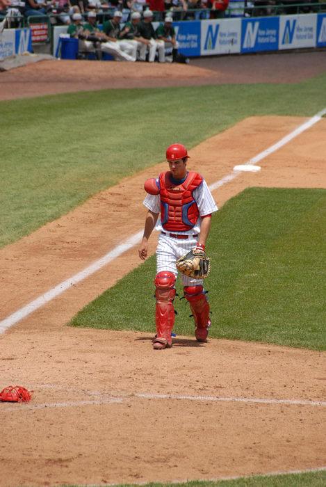 catcher, grass, third base line
