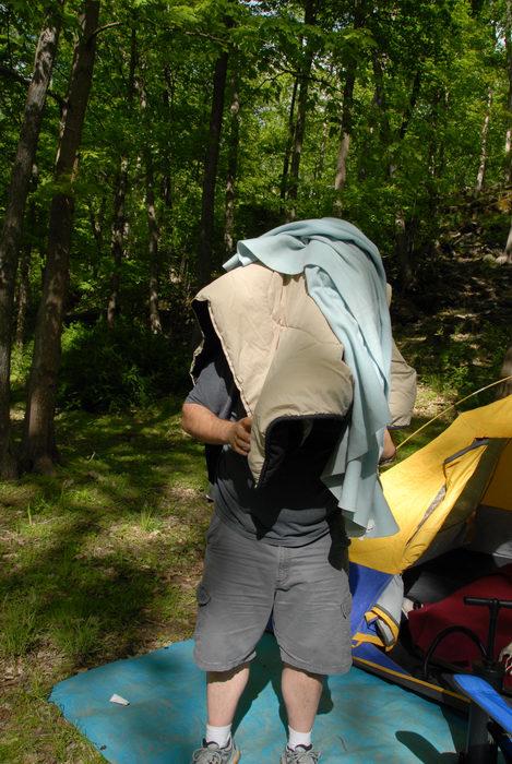 Jeff, blankets, tarp, tent, woods