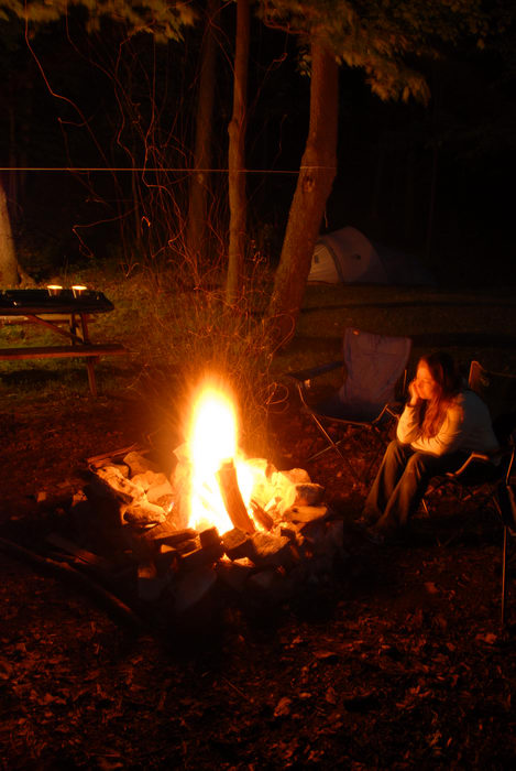 Jackie, Campfire, Camping Chairs, Fire, Trees