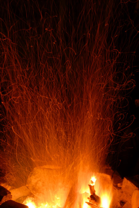 camp fire, sparks