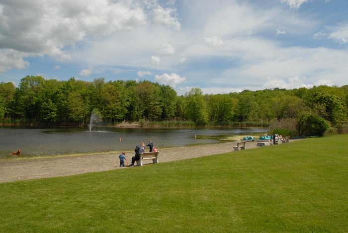 fountain, grass, lake, people, pond, sand
