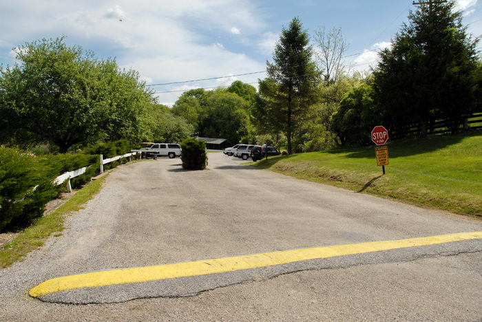 fence, grass, road, speed bump, stop sign, trees