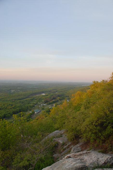 overlook, rocks, trees, valley