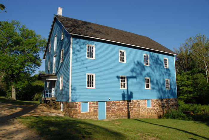 blue, blue sky, door, foundation, grass, gristmill, qindow, tree