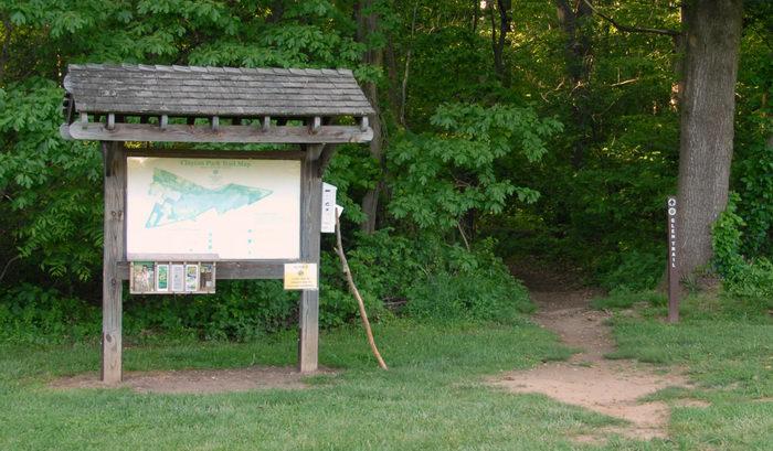 park map, path, sign, trail marker, trailhead, tree, walking stick, woods