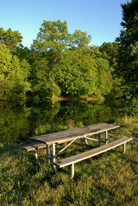 blue sky, grass, picnic table, pond, reflection, table, trees, water