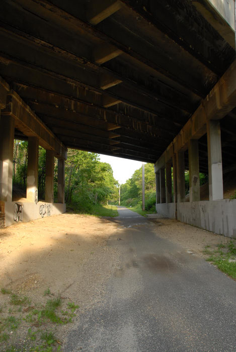 bike path, bridge, dirt, grass, trees
