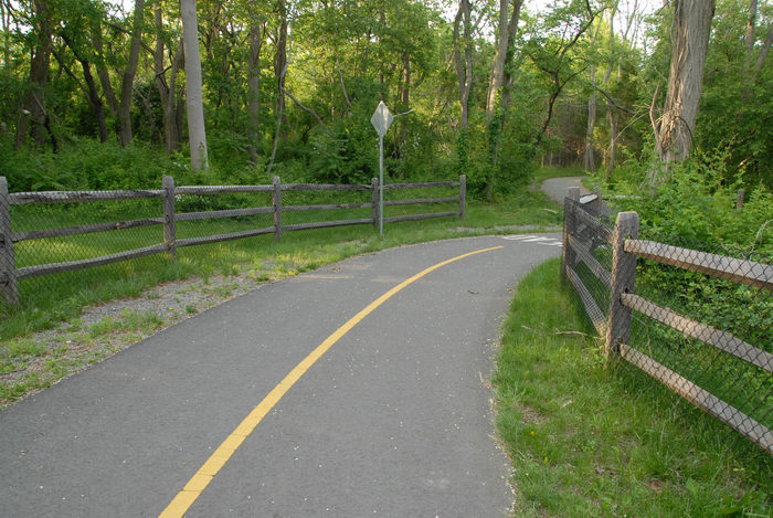 bike path, fence, grass, trees
