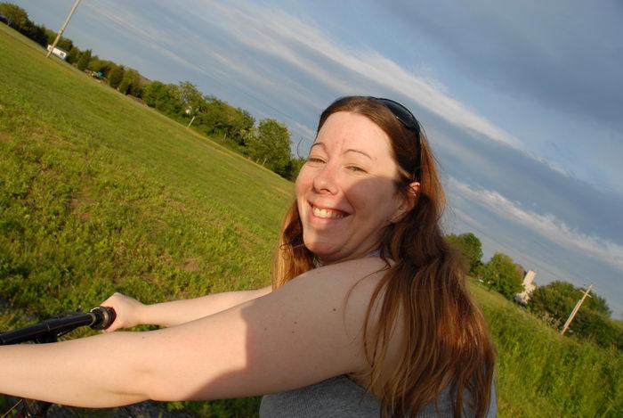 Jackie, blue sky, field, grass, trees