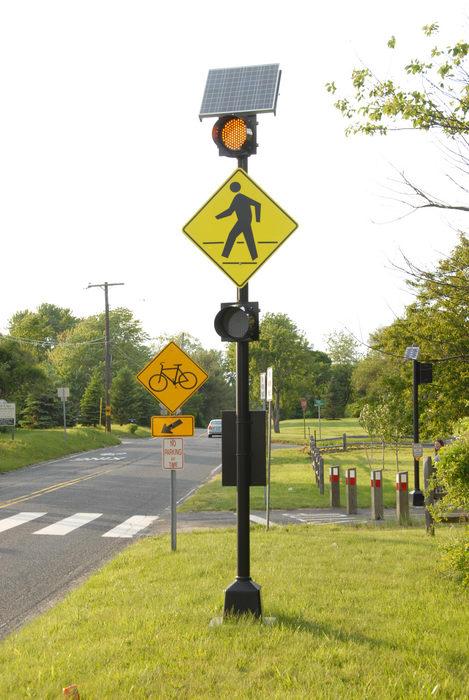 bike path, grass, road, sign, trees