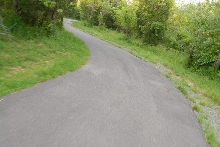 bike path, dirt, grass, trees